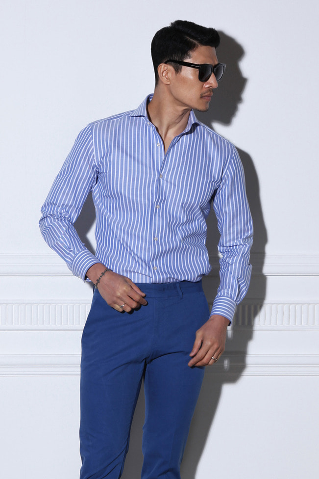 Take334 italia stripe shirt/blue&white