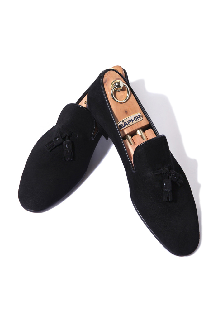 Take344 artisan slipper suede shoes/black