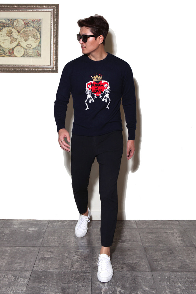 Skull heart round knit/3color-수입 한정 추천 제품