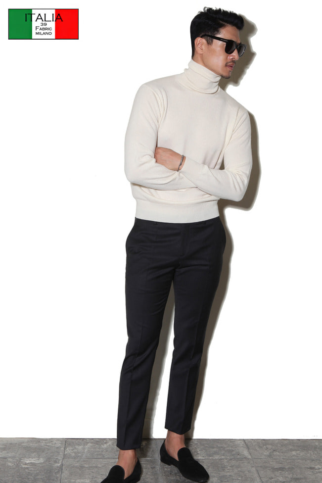 Take382 Royal cashmere turtleneck/ivory[black label series]