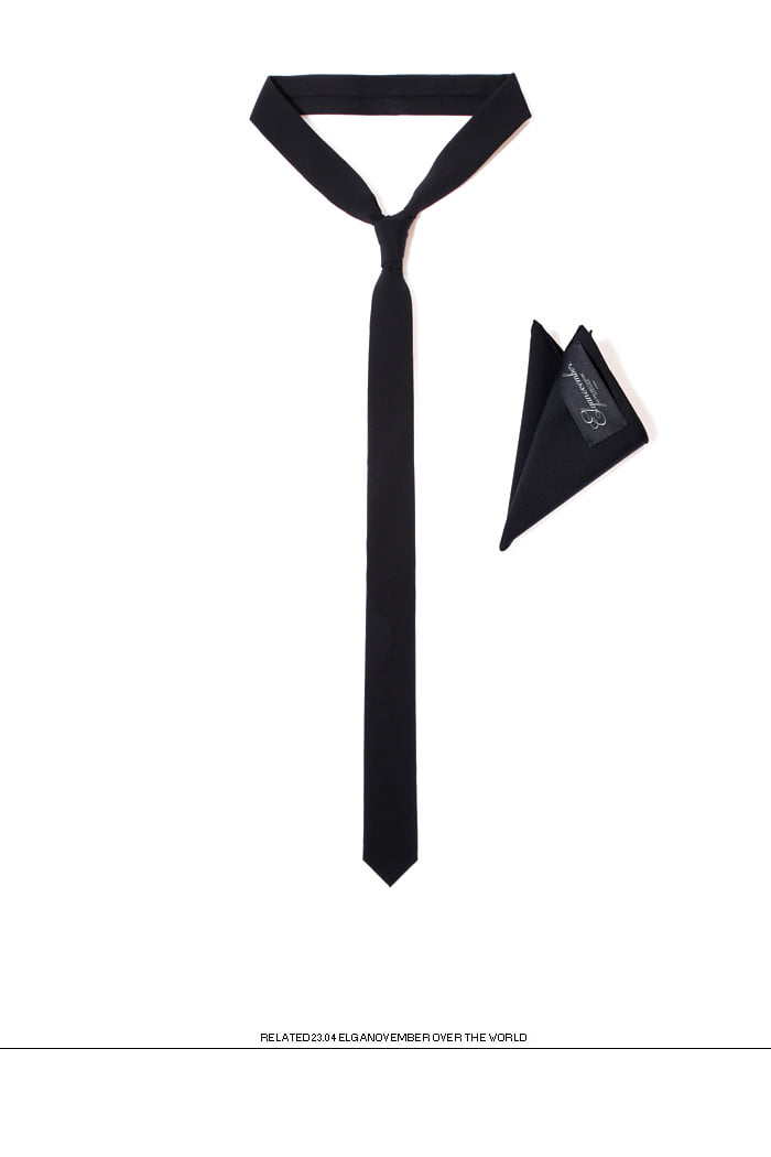 Take177 LANIFICIO LUIGI COLOMBO tie&handkerchief/black