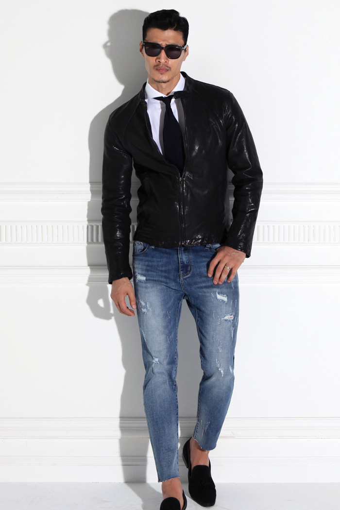 Spigel basic leather blouson/black[italy sheep skin 100%]