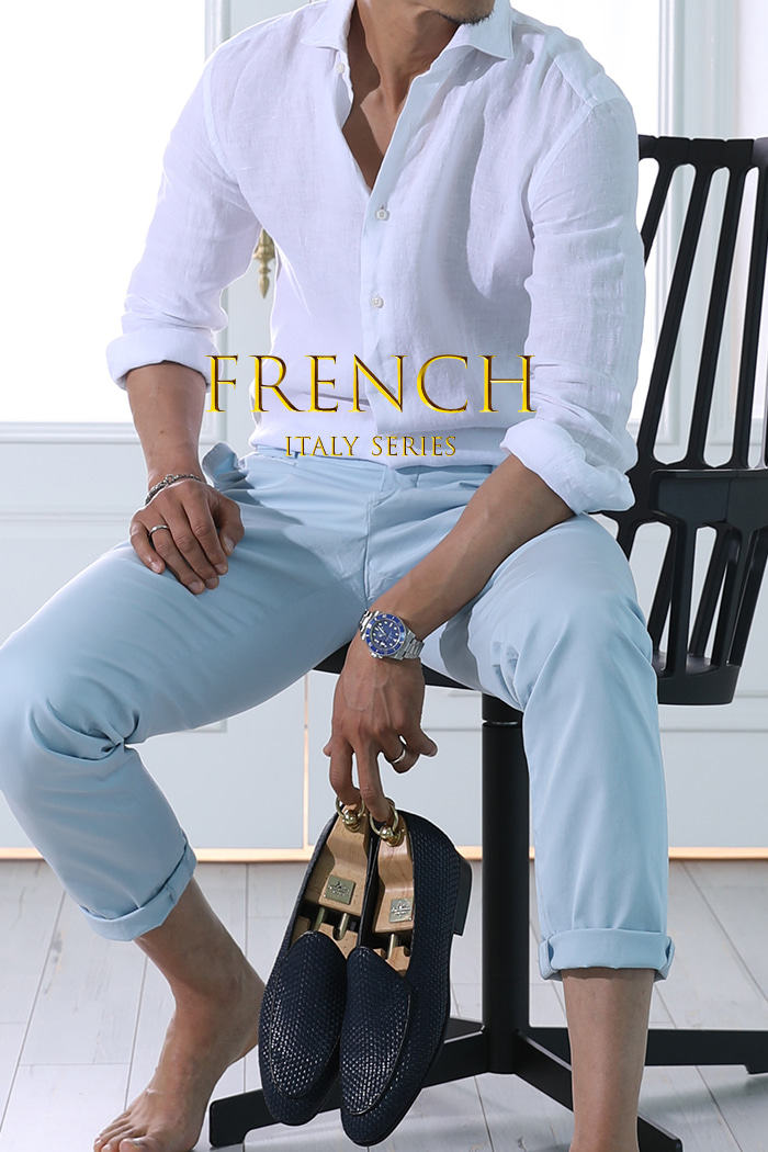 Take430 French linen shirt/white-Best Seller!!