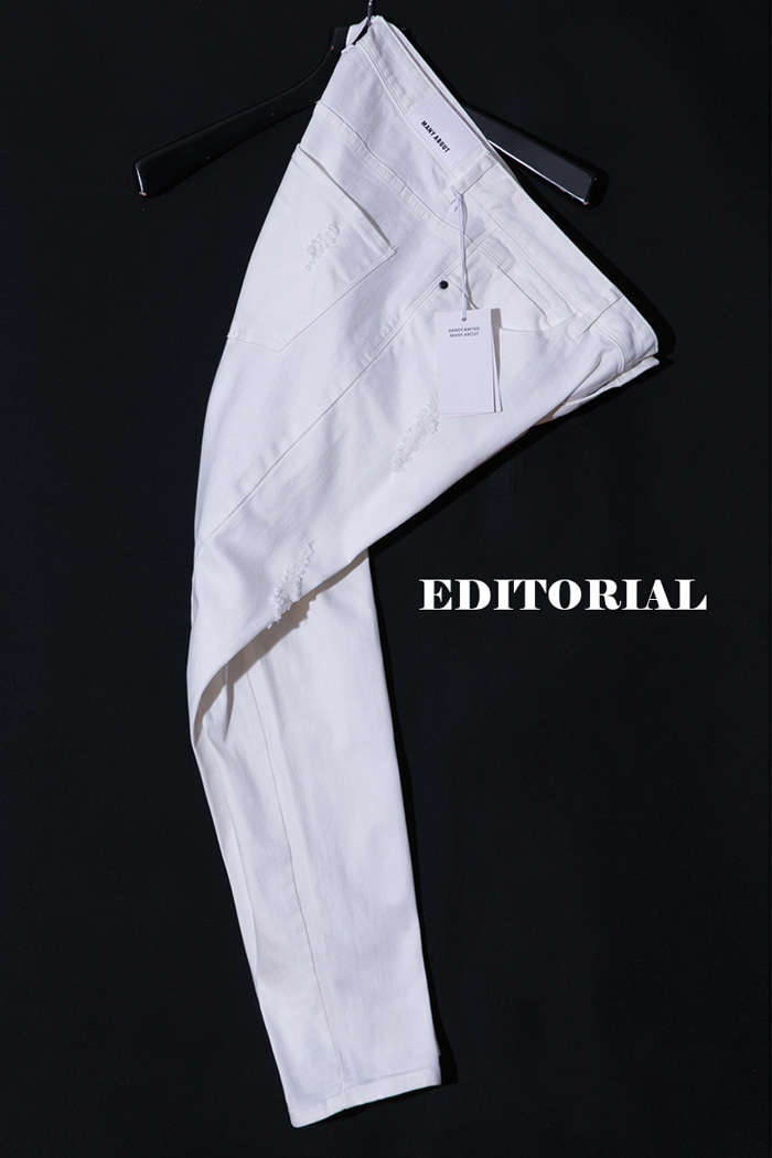 Editorial damage white jeans/white-Best Seller
