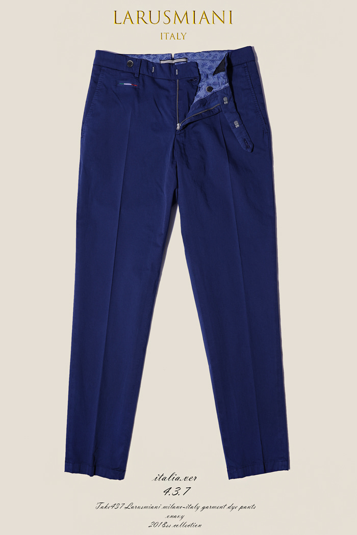 Take437 Larusmiani milano-italy garment dye pants/navy