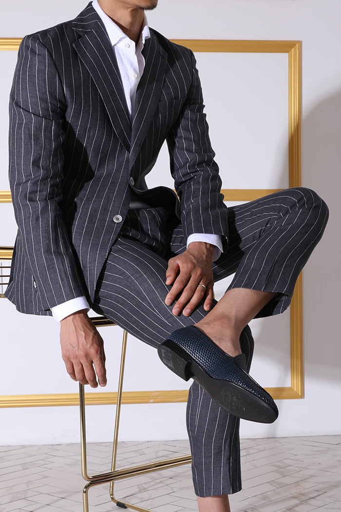 Summeral stripe linen suit/2color