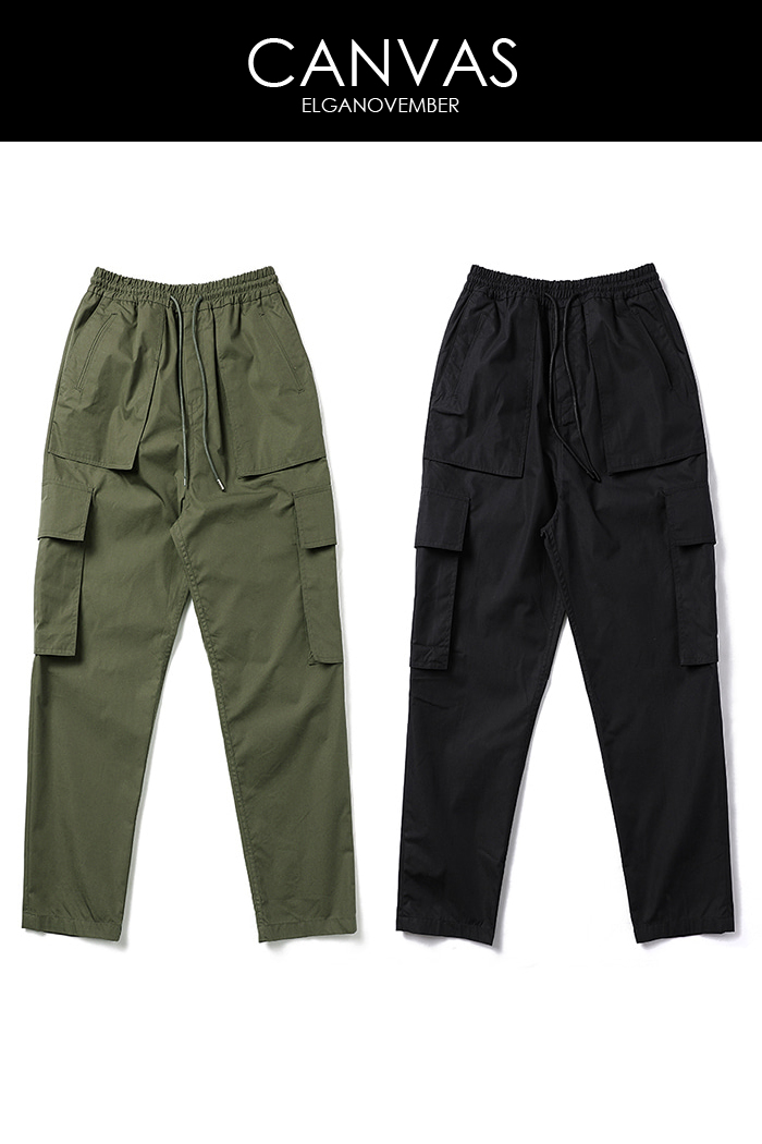 Cotton canvas crop cargo pants/2color-스페셜오더!