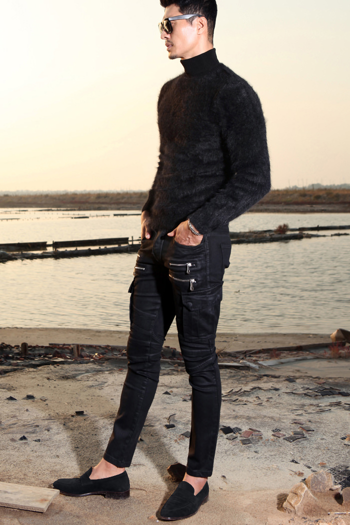 Black oil slim cargo jeans/black[black oil.ver-slimfit]