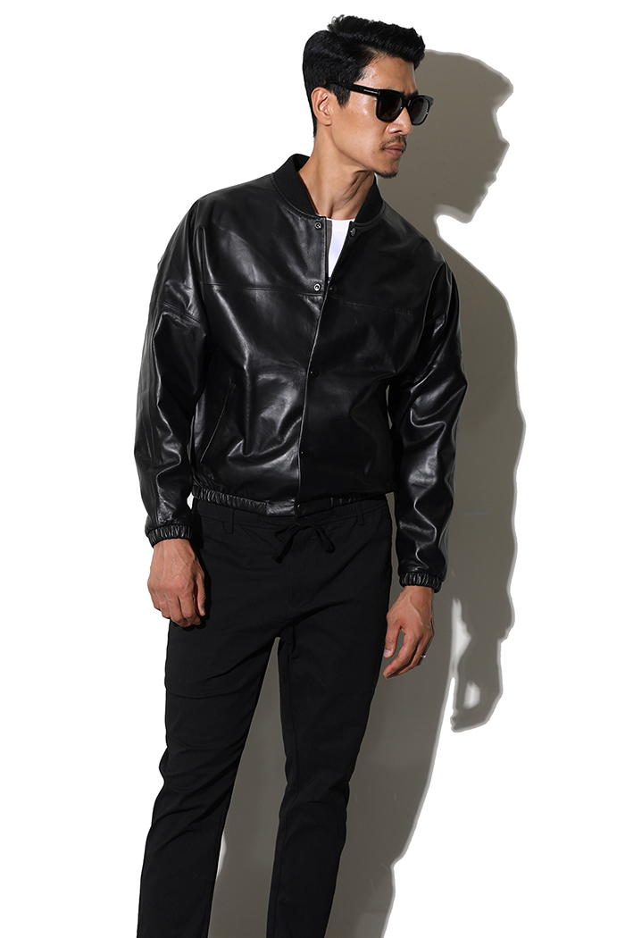 RAY LEATHER  BLOUSON-BLACK