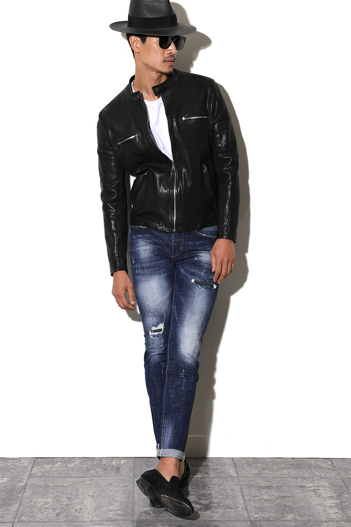 SYRAH ZIPPER LEATHER JACKET-BLACK
