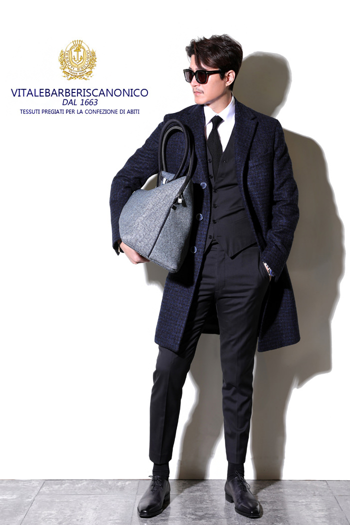 V.B.C Alpaca gingham check single Classic coat/navy[limited edition]-최근이슈제품!