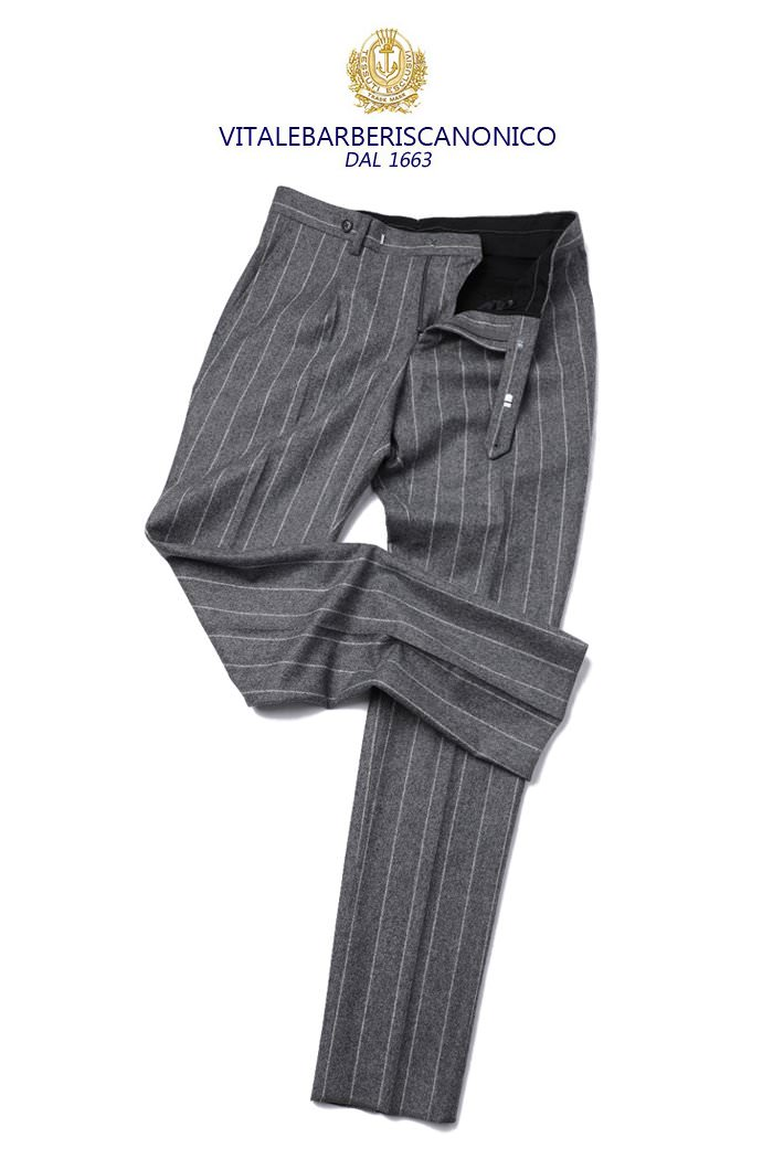 TAKE468 ITALY VITALE BARBERIS CANONICO 1663 STRIPE PANTS-GRAY