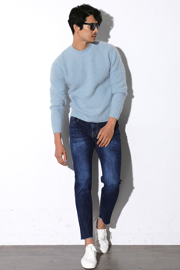 BASIC WASHED CUTTING SLIM JEANS-BLUE