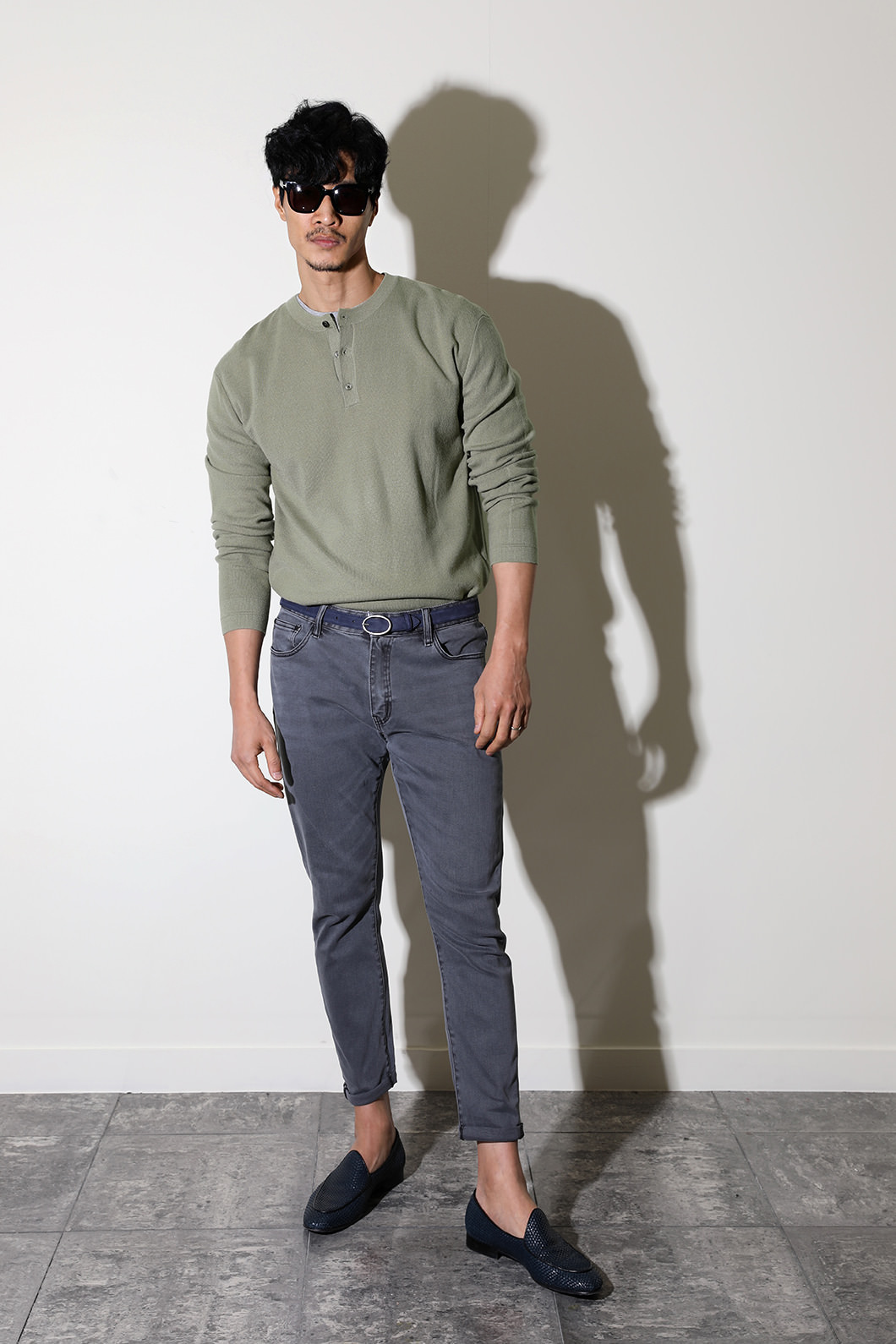KENNETH HENLEY NECK KNIT-5COLOR
