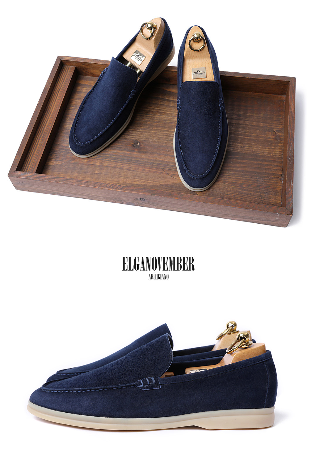 LOWER SUEDE LOAFER-NAVYITALY Leather