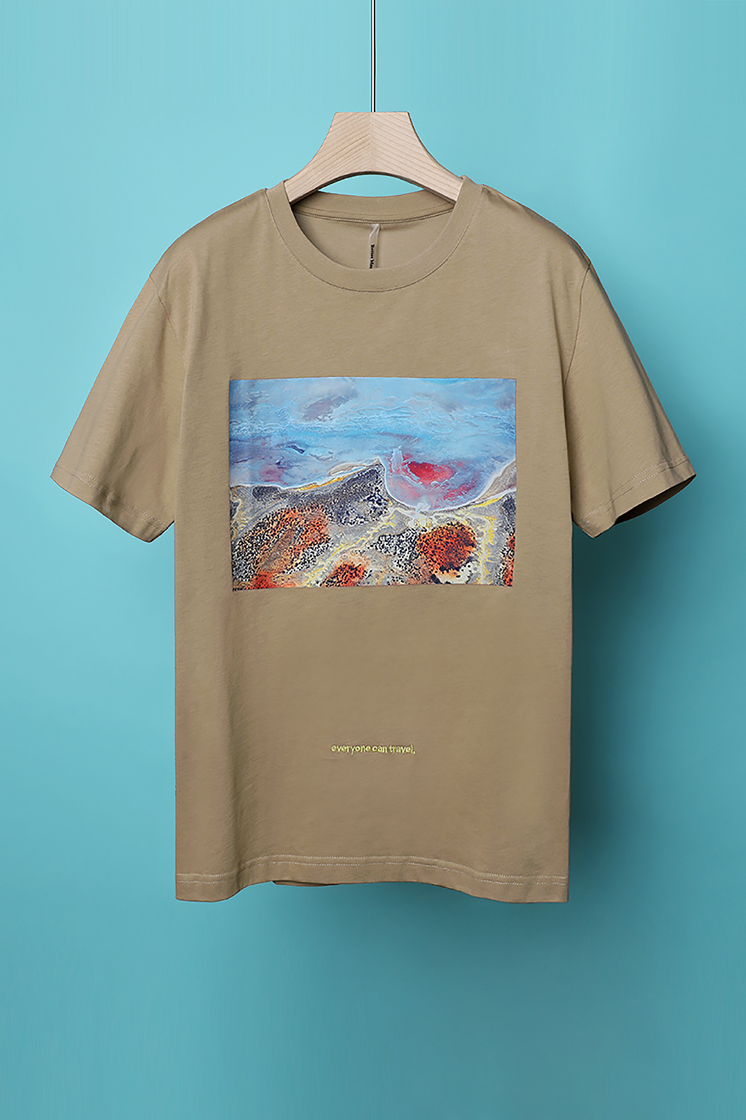 TRAVEL WAVE ROUND T-SHIRT-BROWN수입소량한정제품!