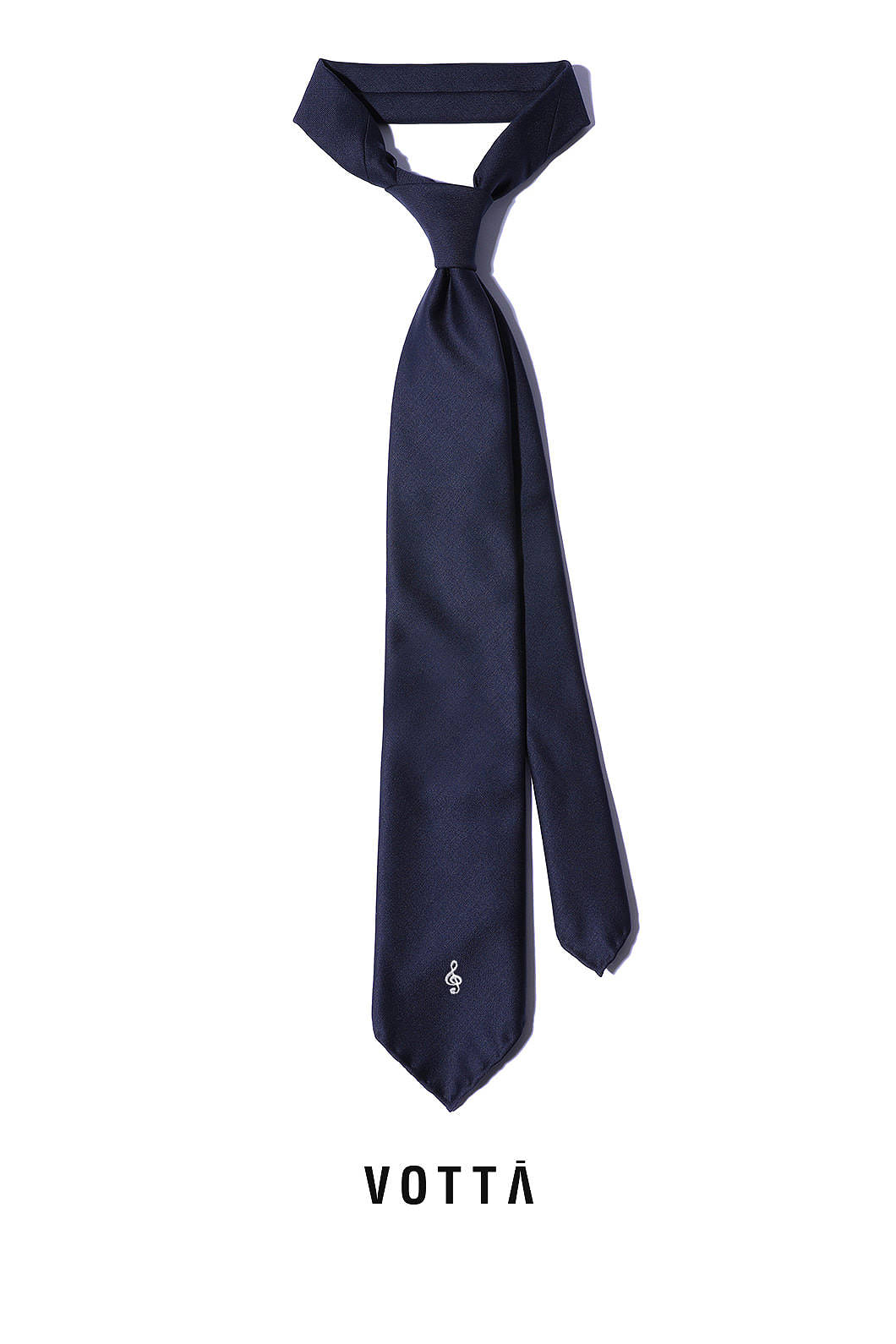 HAND MADE CLEF WOOL TIE-NAVYITALY Fabric-Wool 100%
