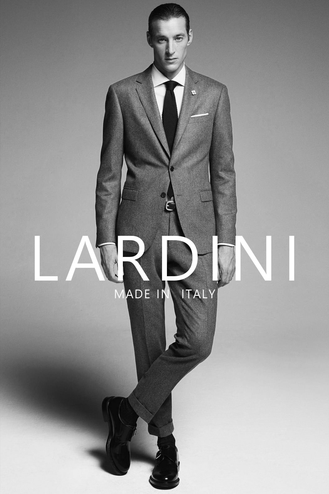 LARDINI  STRIPE SUIT-CHARCOAL