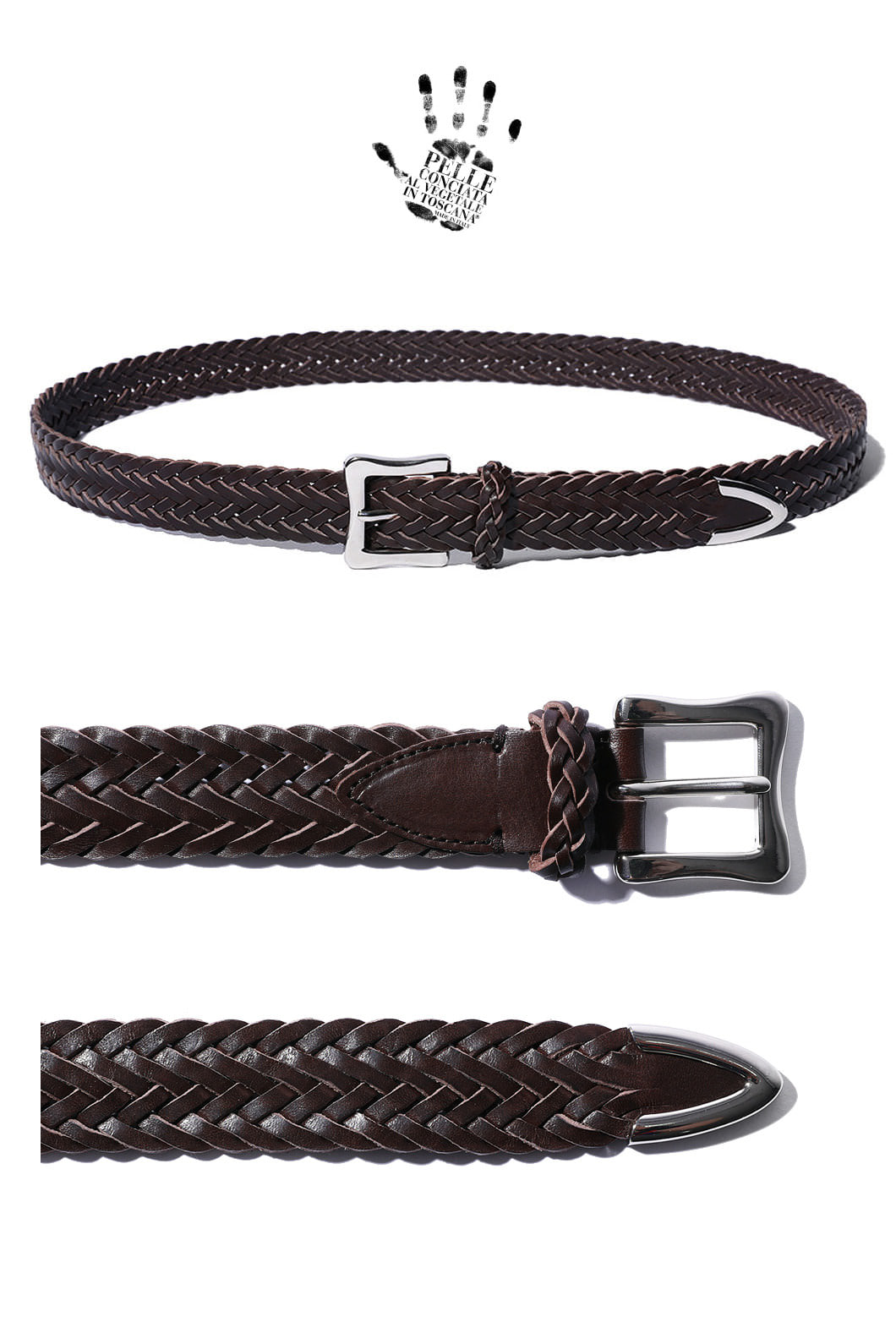 SAVAGE 140 WEAVING BELT-BROWNSPECIAL ORDER-HAND MADE
