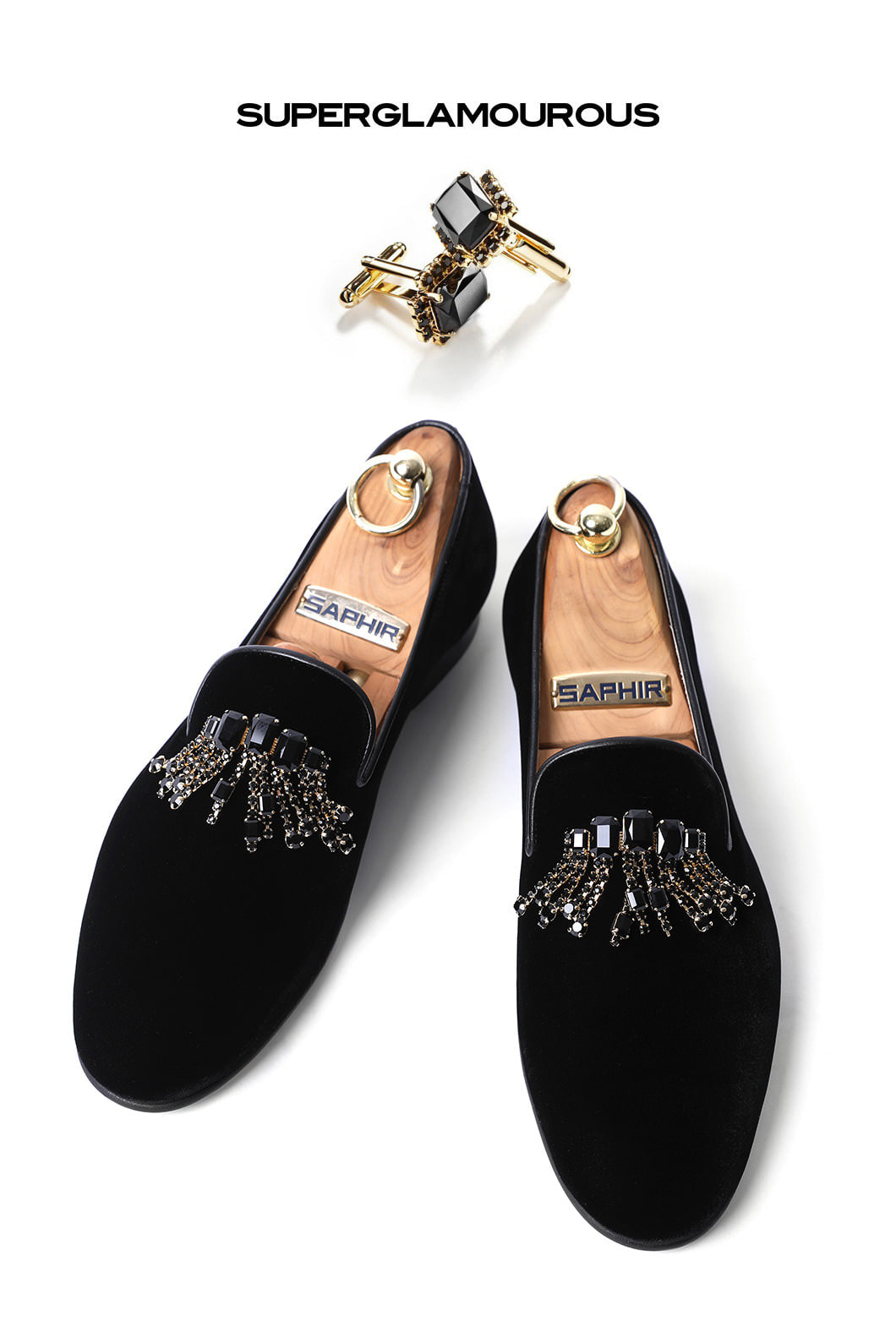 SUPERGLAM CRYSTAL BROOCH VELOUR SLIPPERS/BLACKMADE IN ITALY-한정수량-당일배송-39,40,41소량재입고!