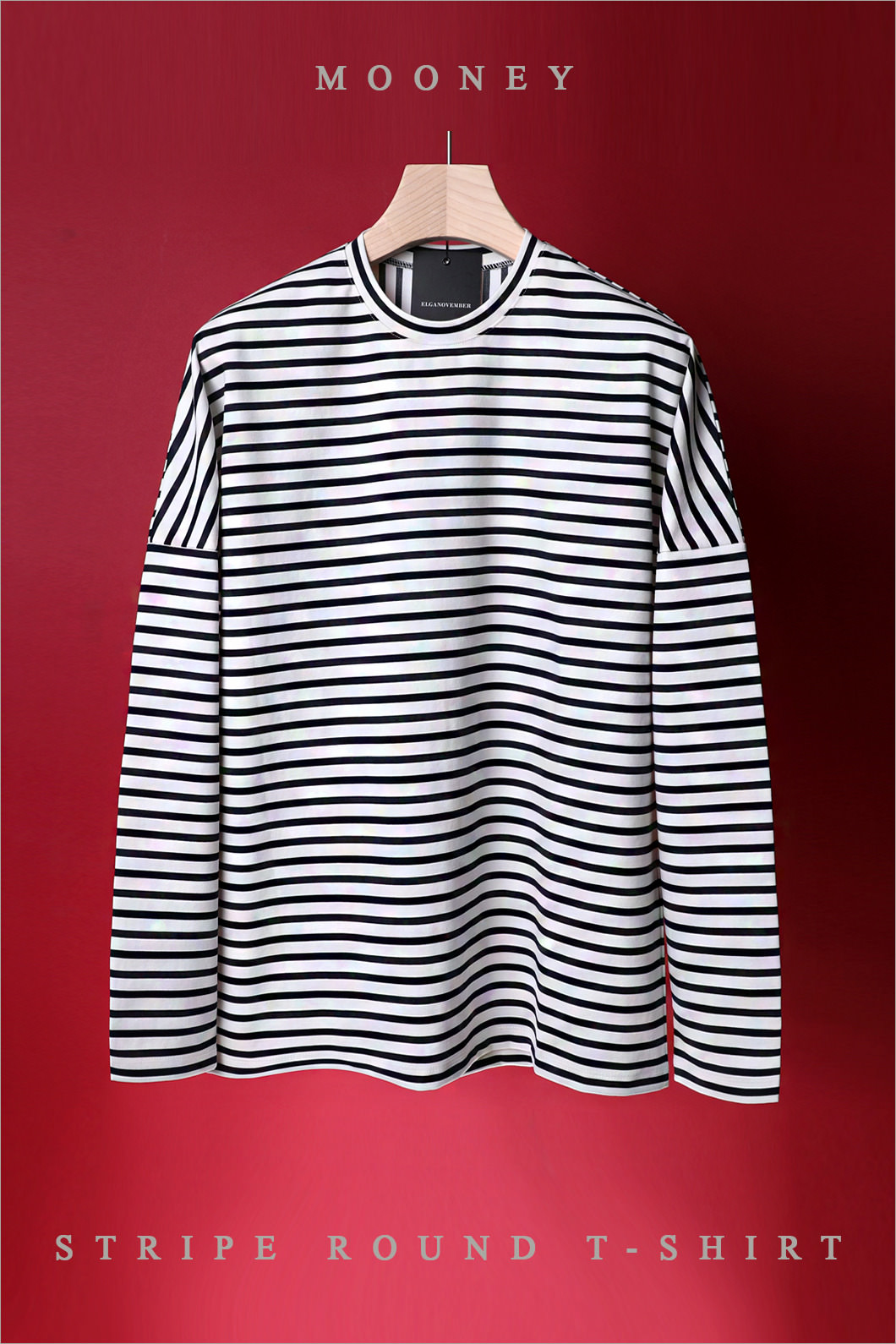 MOONEY STRIPE ROUND T-SHIRT-7COLOR