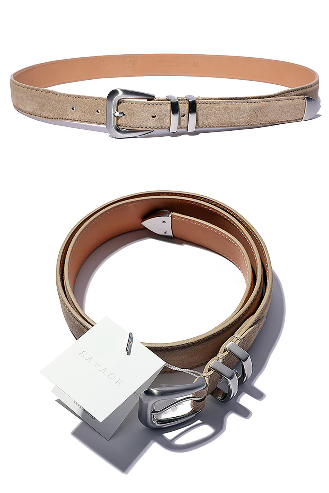 SAVAGE 110 SUEDE BELT-BEIGESPECIAL ORDER-HAND MADE
