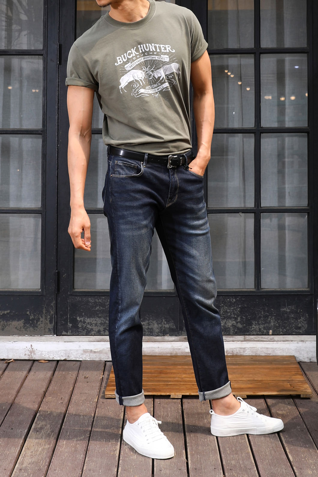 GOLD SLIM STRAIGHT JEANS-DARK BLUE수입한정제품