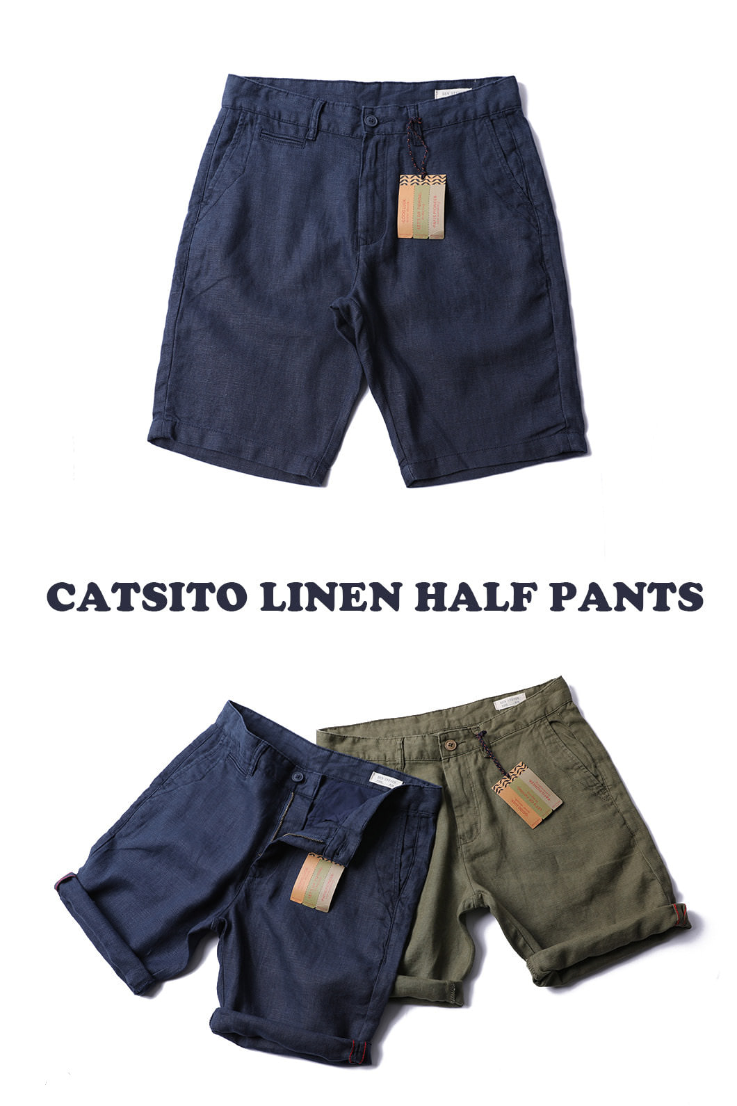 CATSITO LINEN HALF PANTS-2COLOR수입한정제품