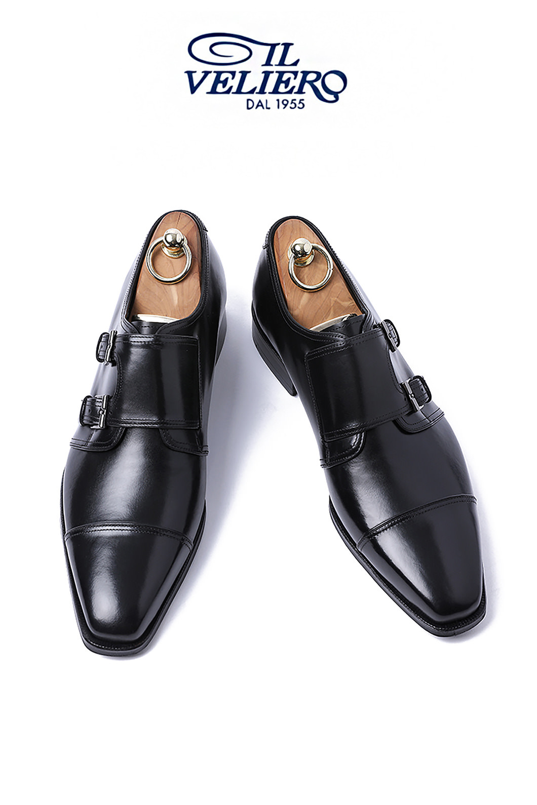 Take488 Artisan ITALY ILVELIERO Double Monk Shoes-BLACKLIMITED PRODUCT
