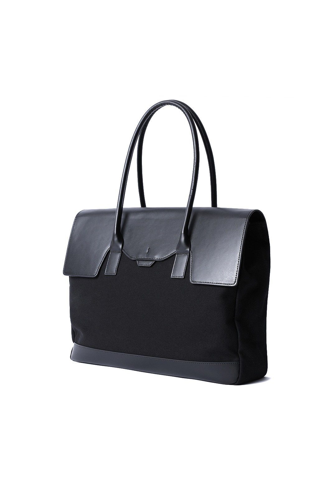 POLYGON LARGE FLAP TOTE-BLACK[PREMIUM-SPECIAL ORDER]