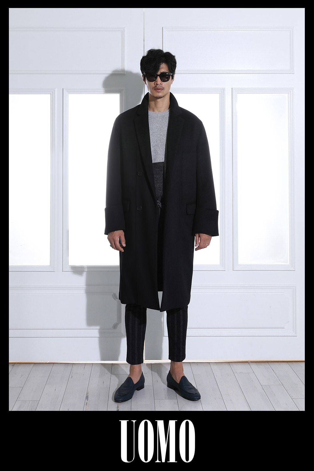 TURN UP CUFFS OVER COAT-BLACK스페셜오더!