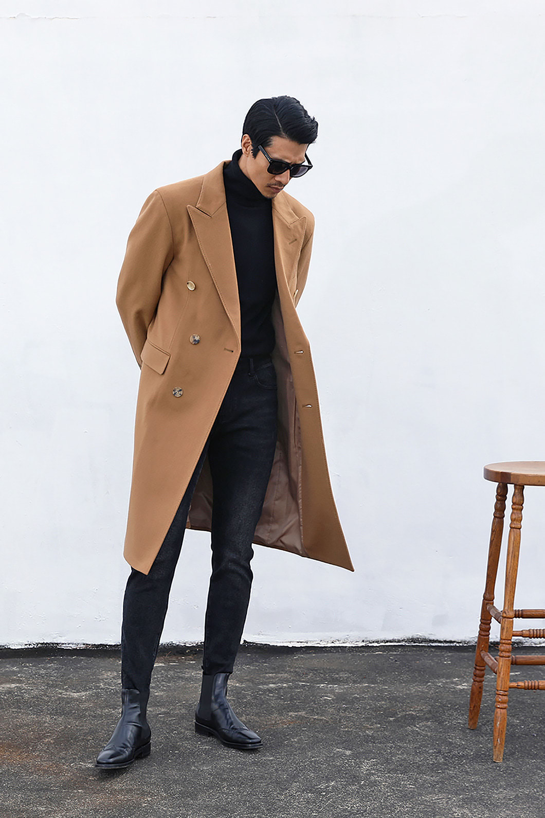 DOUBLE BREASTED COAT-CAMEL