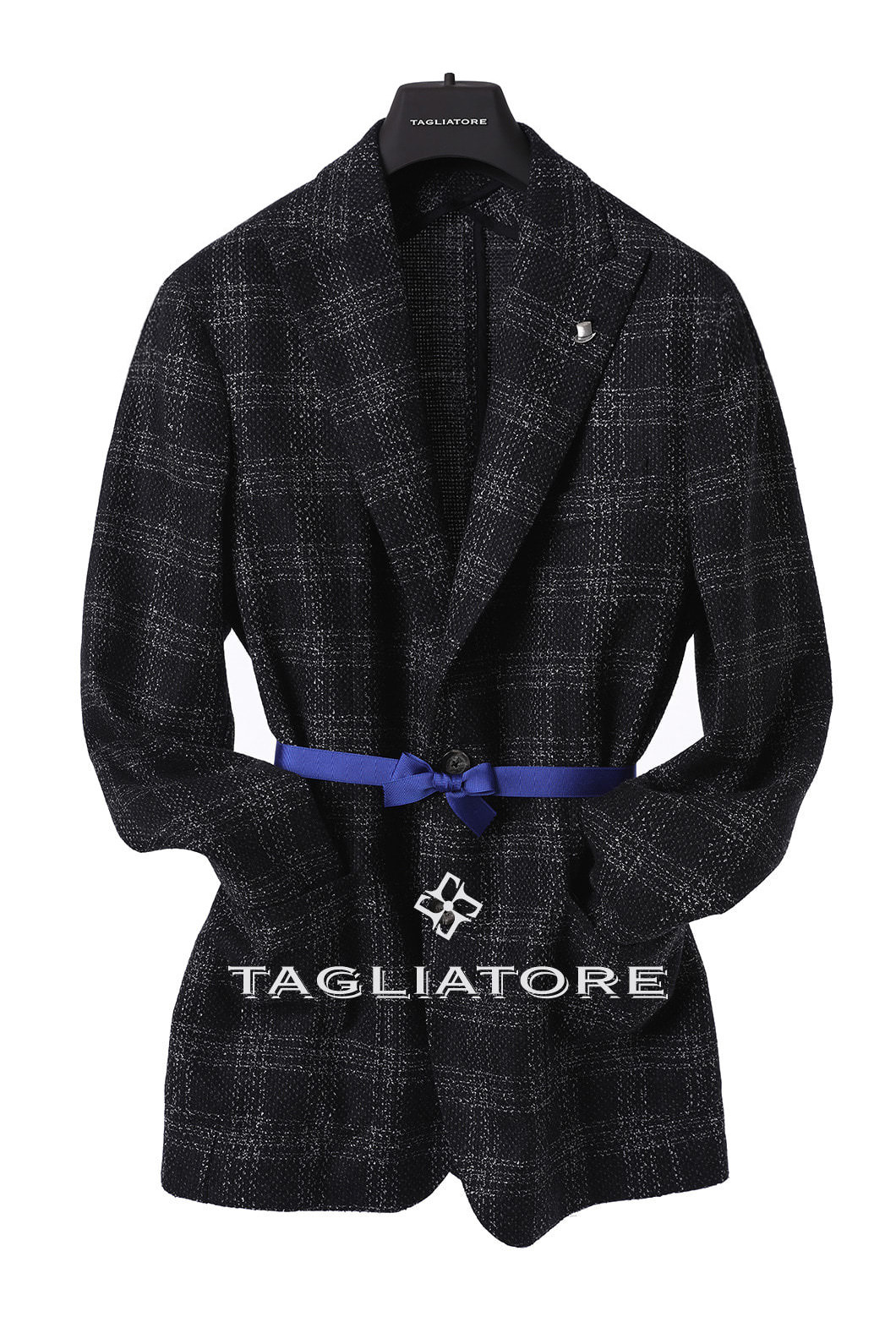 TAGLIATORE BOUCLE TARTAN CHECK JACKET-BLACK