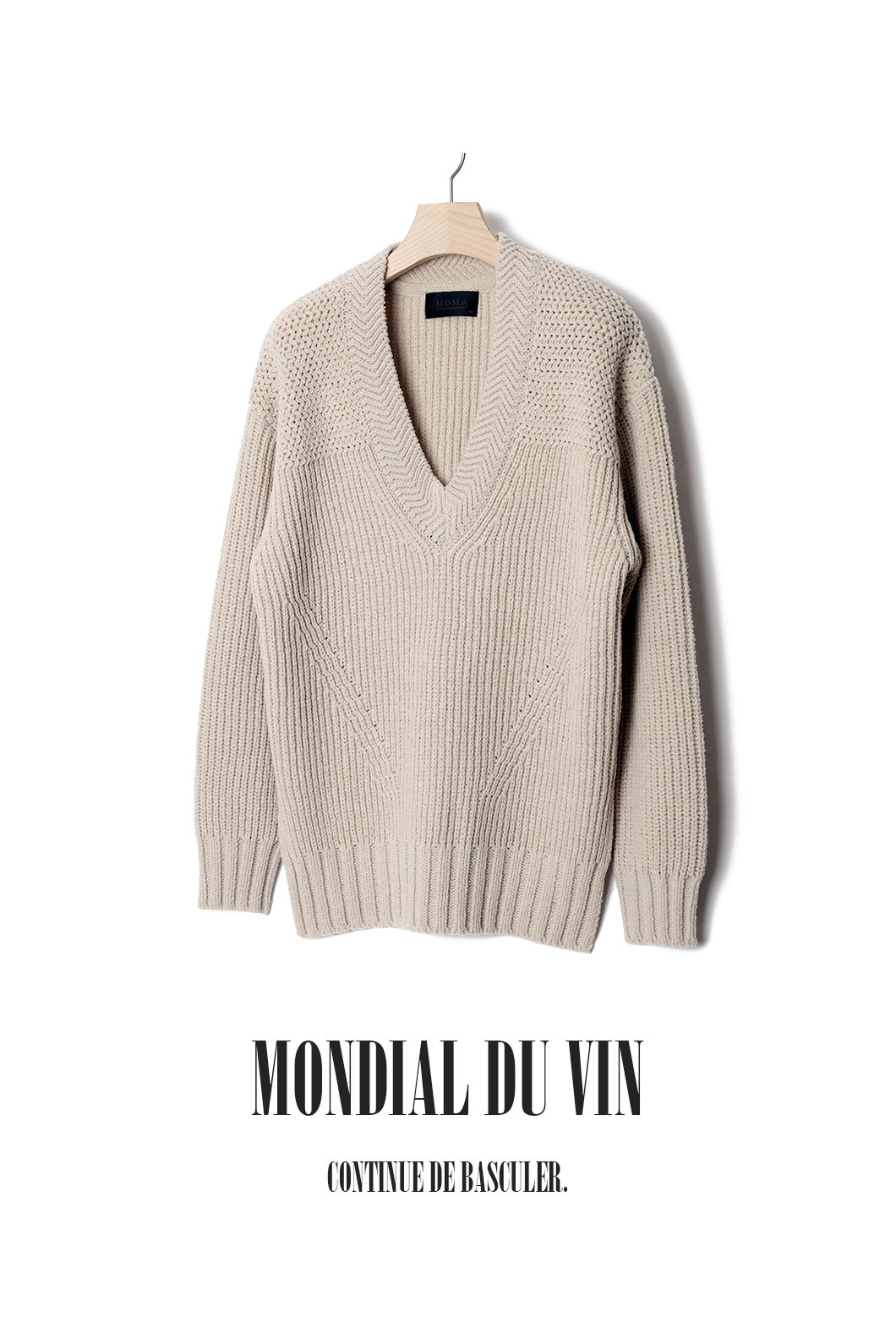 BRYANT DEEP V-NECK HEAVY KNIT-APRICOT BEIGE[Italy yarn]최근 판매 이슈제품!!