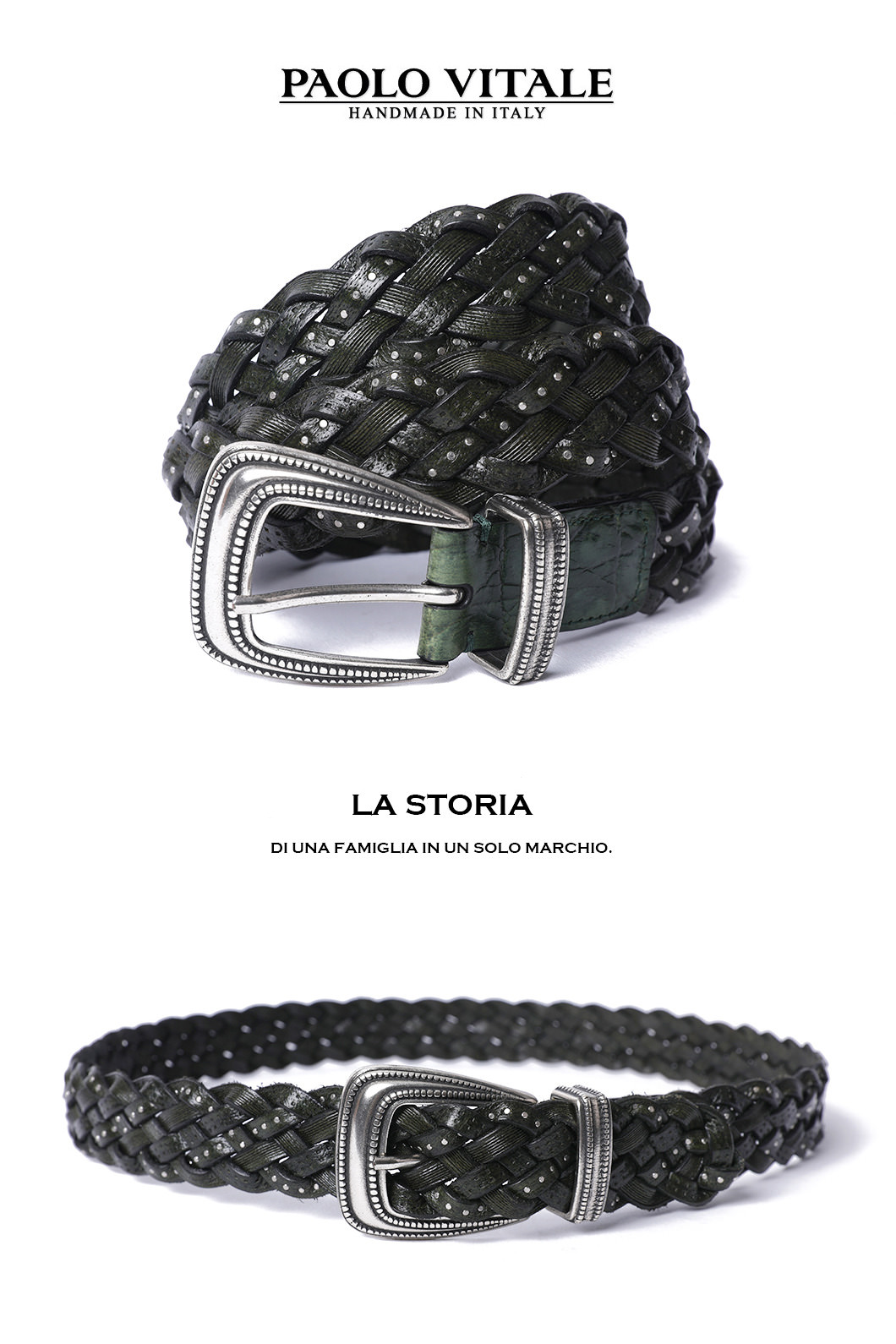 PAOLO Belt-GREEN MADE IN ITALY소량 한정판!