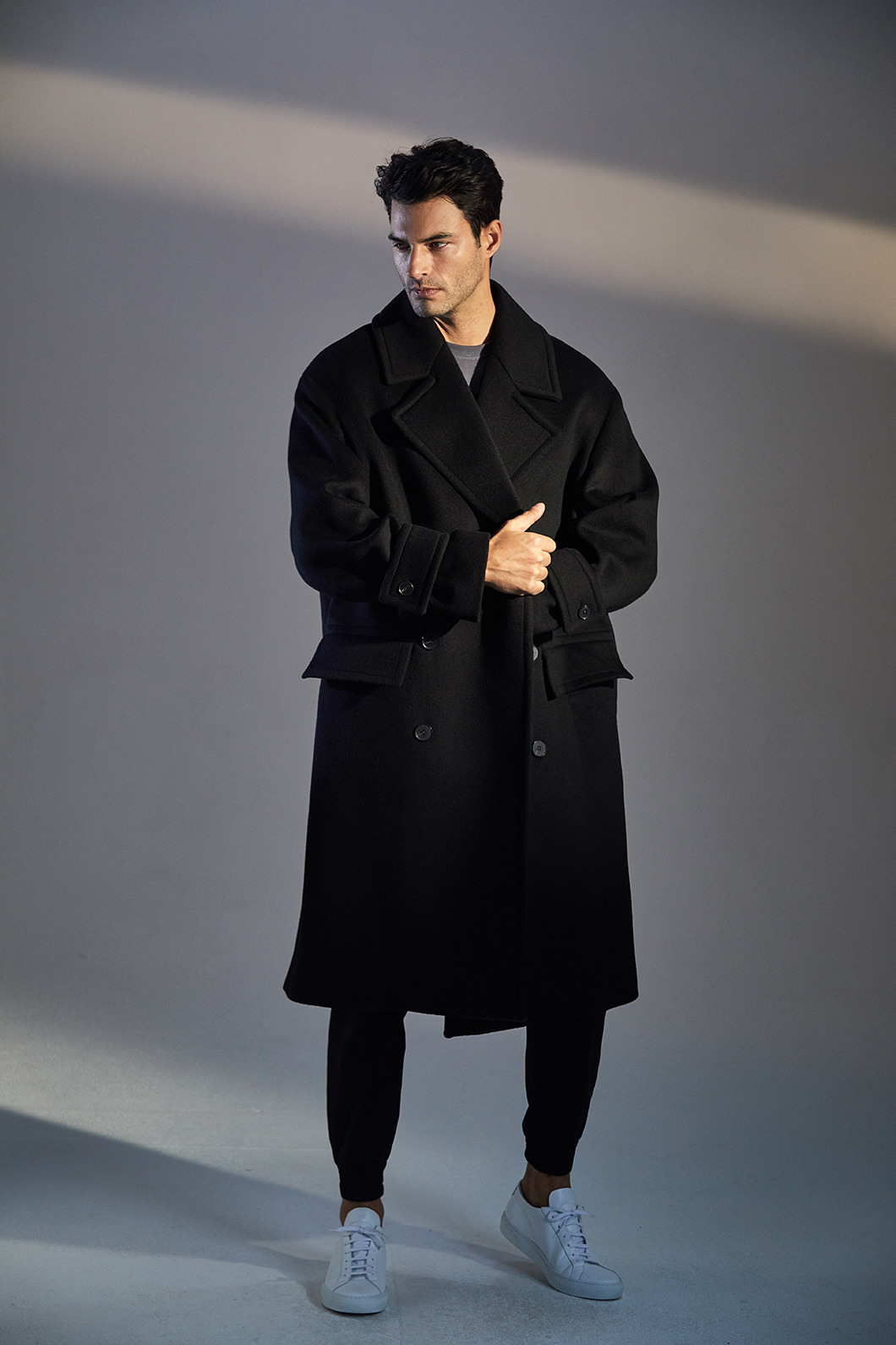 PAULRUDD OVER-FIT DOUBLE COAT-BLACK