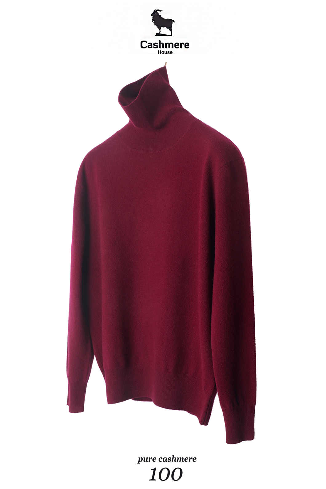 549 Pure Cashmere 100% Turtleneck-Gorgeous Burgundy