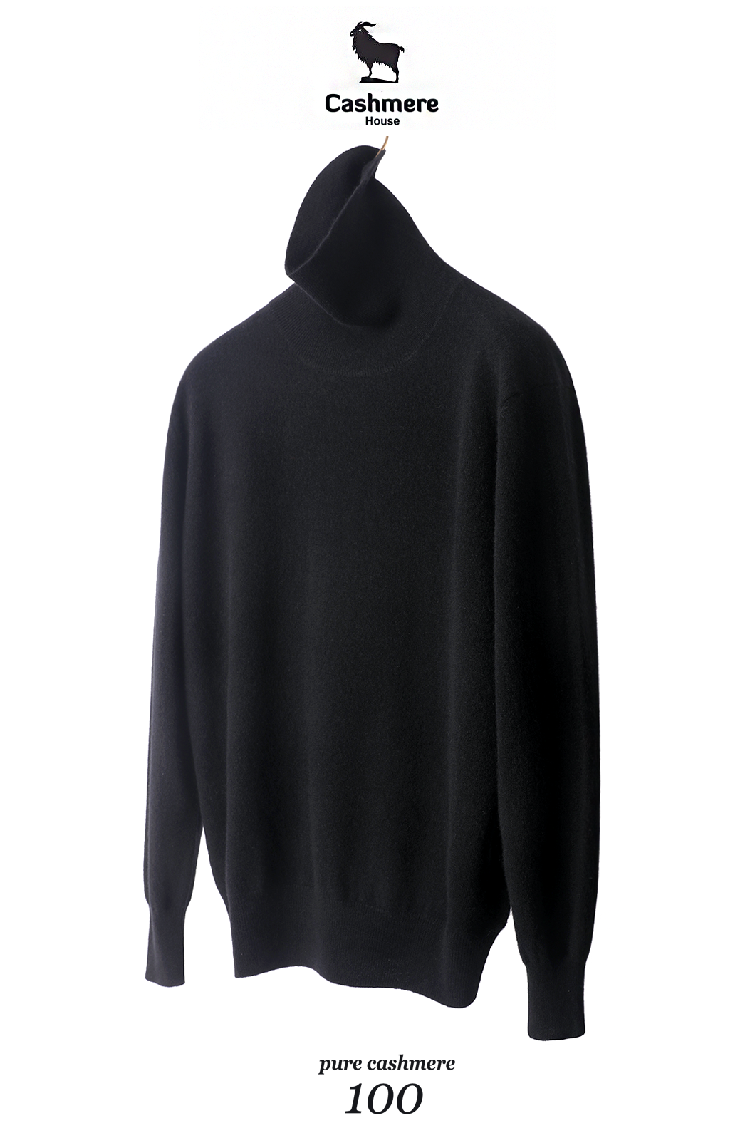 550 Pure Cashmere 100% Turtleneck-Black