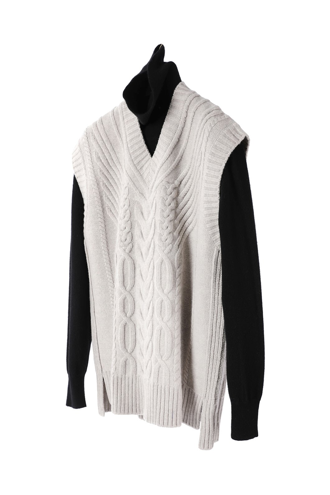 Cashmere Cable Knitting Over Vest-2Color