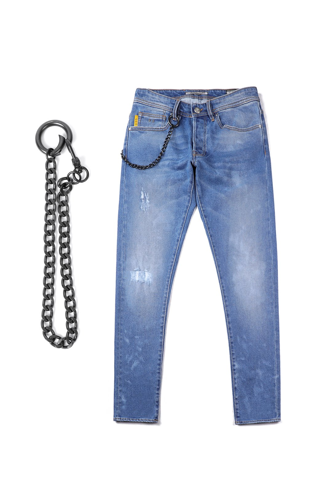 Tramarossa Black Leather Dot Stud Tab Denim Jeans-Blue소량한정수량
