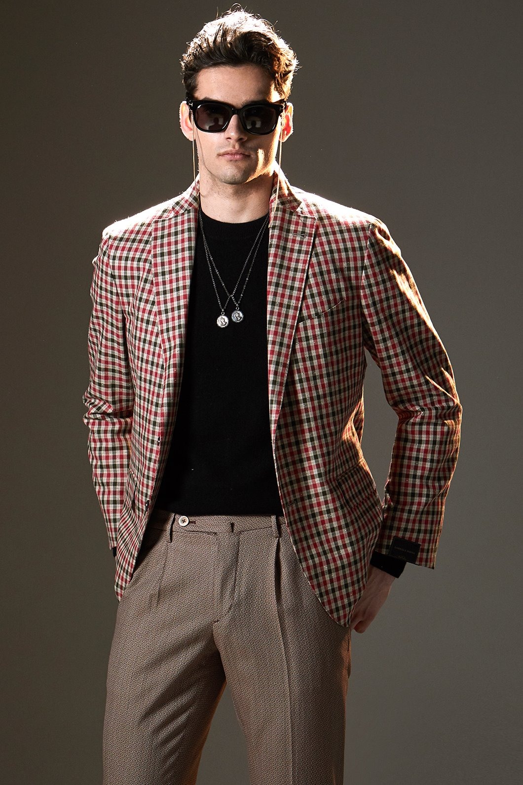 PASINI Hasling Filo Check Single Jacket-Red