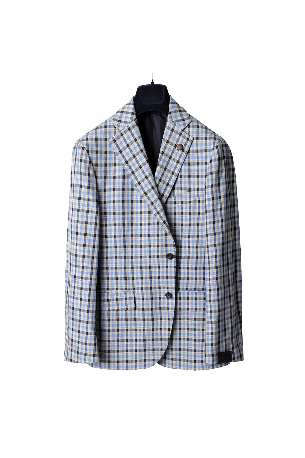 PASINI Zior Filo Check Single Jacket-Blue