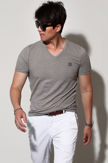 Maschile v-neck t-shirt/2color[slim fit]