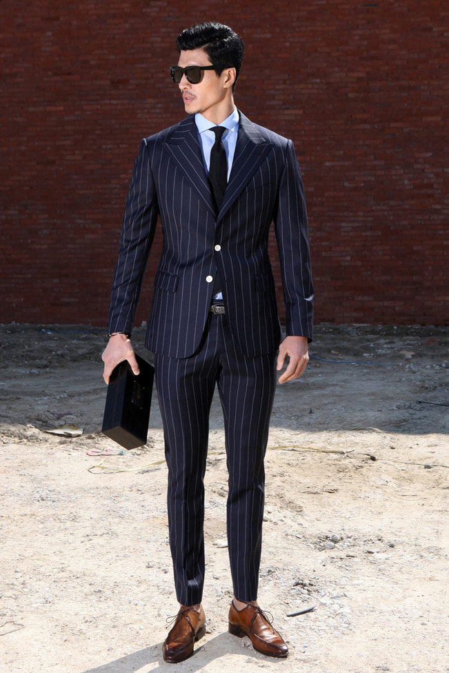 Take256 primavera wide stripe suit/navy[black label series]
