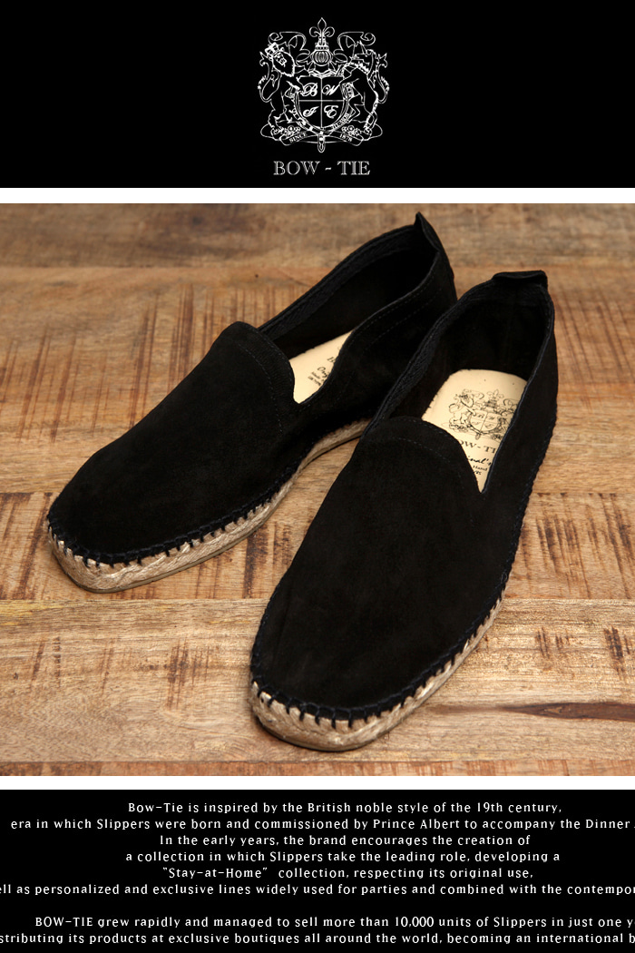 Bow-tie espadrille shoes/black[Suede-Made in SPAIN]