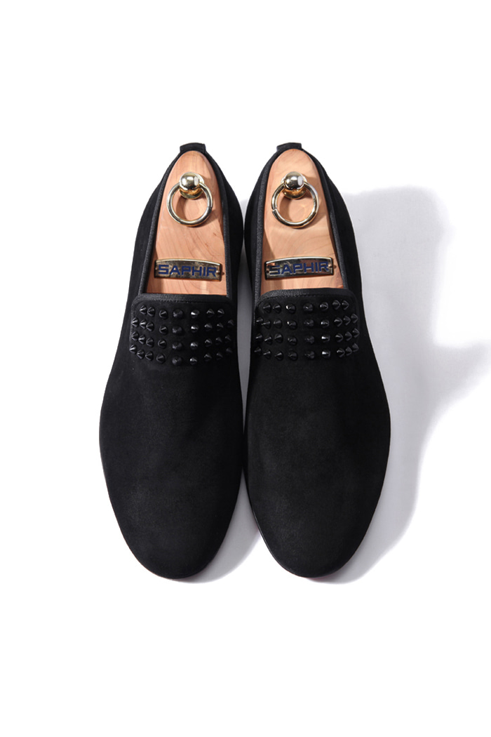 BLACK2 matte partial stud loafer/black[suede]