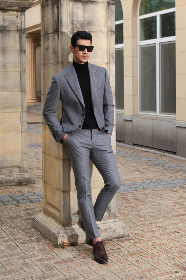 Take305 italy V.B.C flannel suit/gray