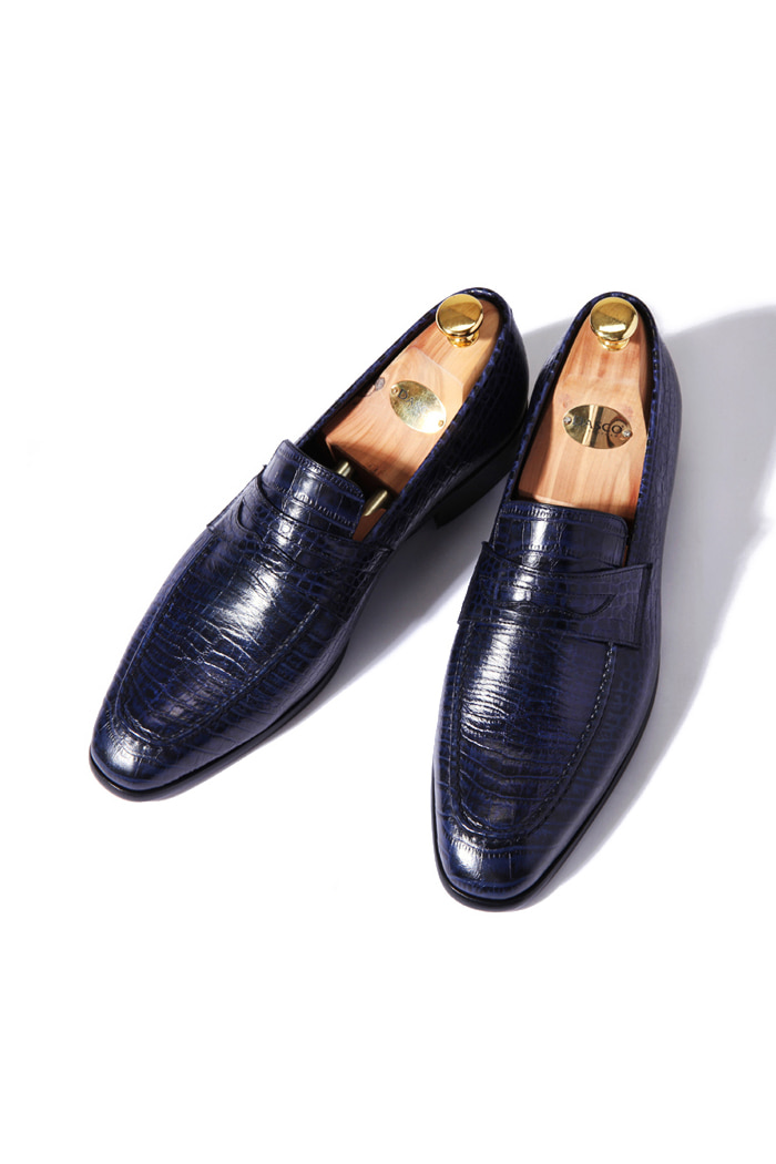 Take323 artisan loafer/Crocodile dark navy