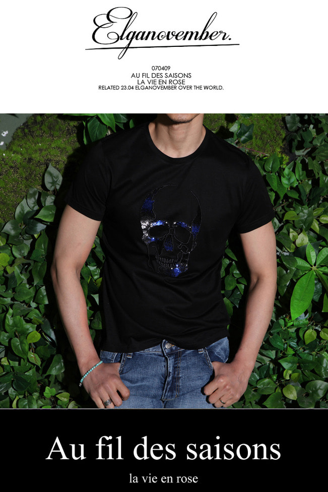 Glittering spangle skull t-shirt/black-Best Seller-