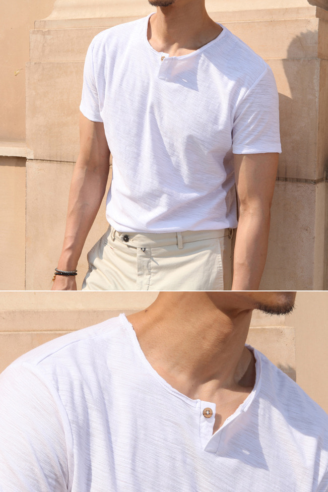 Valley man placket t-shirt/2color-수입한정판